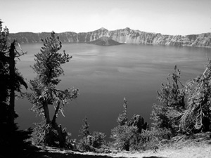 Grayscale image of Crater Lake