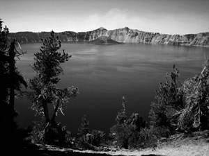 Grayscale image of Crater Lake.