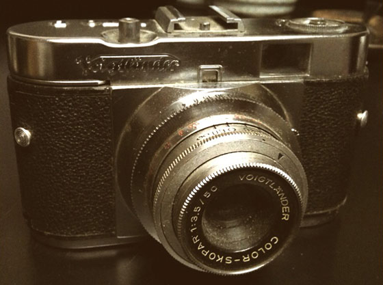 My Voigtländer Vito B, shot with an iPhone, massaged by CameraBag. The image is more or less life-size.