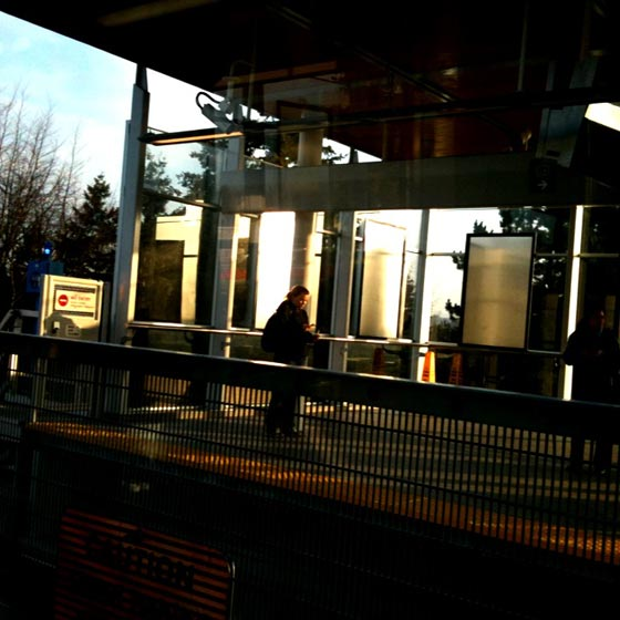 Commuter waits for SkyTrain